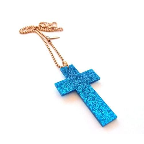 Blue glitter Cross pendant