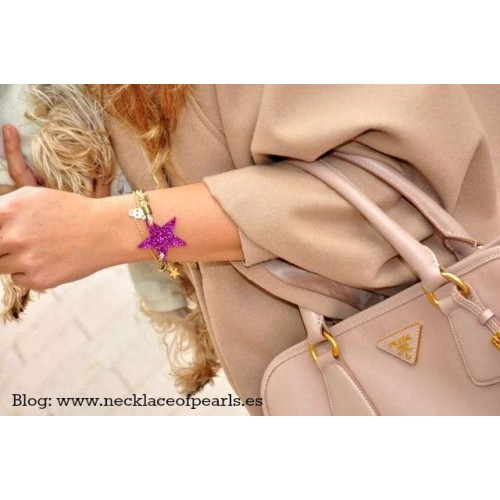 Glitter Star bracelet Golden cord