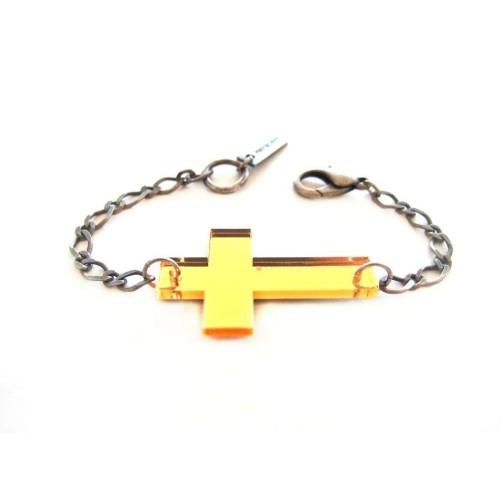 Golden mirror Cross bracelet