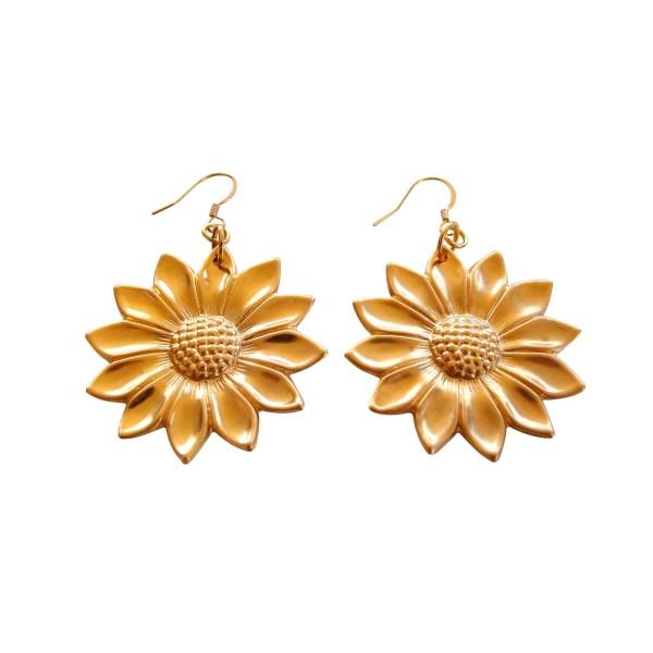 """Pendientes """"Sunflower"""" chapados en oro"""