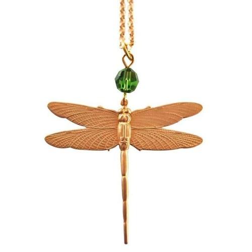 Dragonfly pendant with emerald green swarovski