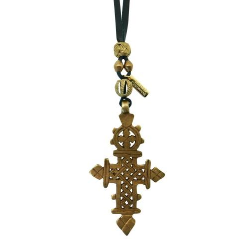 Colgante Boho con cruz Etíope y piezas étnicas