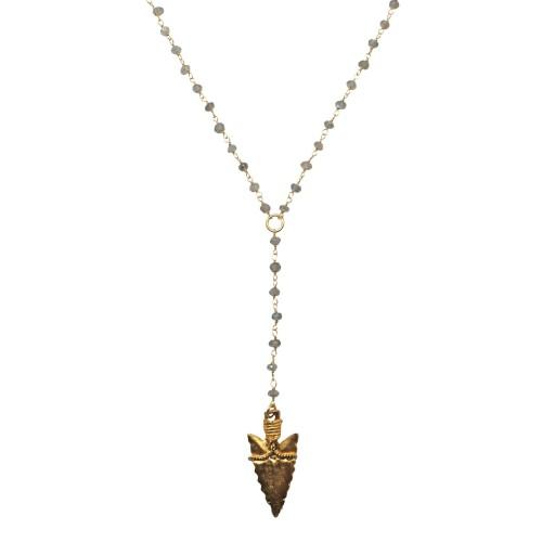 Collar cadena tipo rosario de plata y labradorita con daga chapada en oro