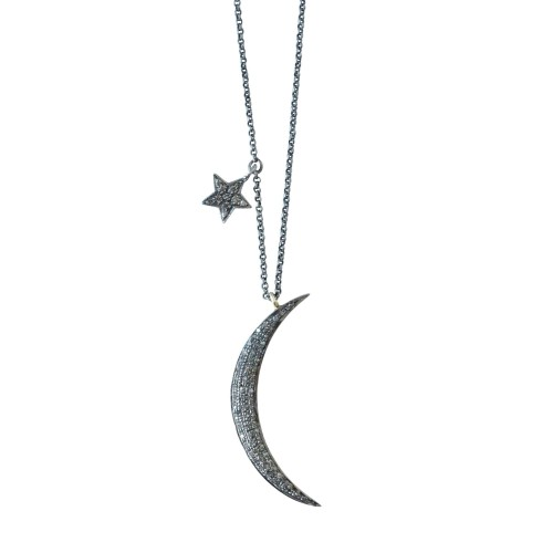 Colgante Luna de plata con diamante y estrella