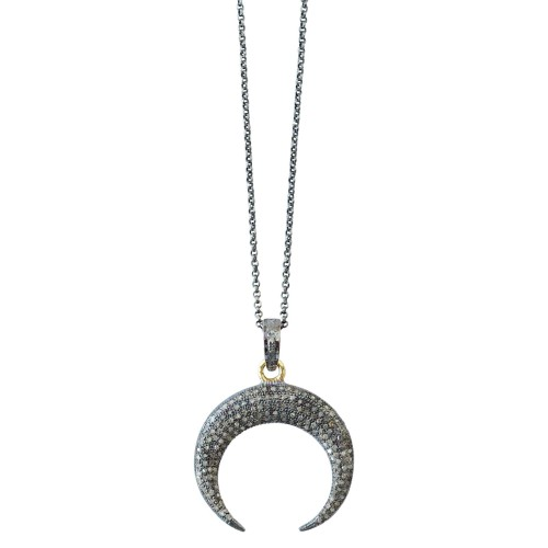 Silver and paved Diamonds Crescent Necklace