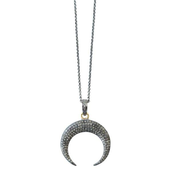 Colgante con Luna invertida de plata y pavé de diamantes