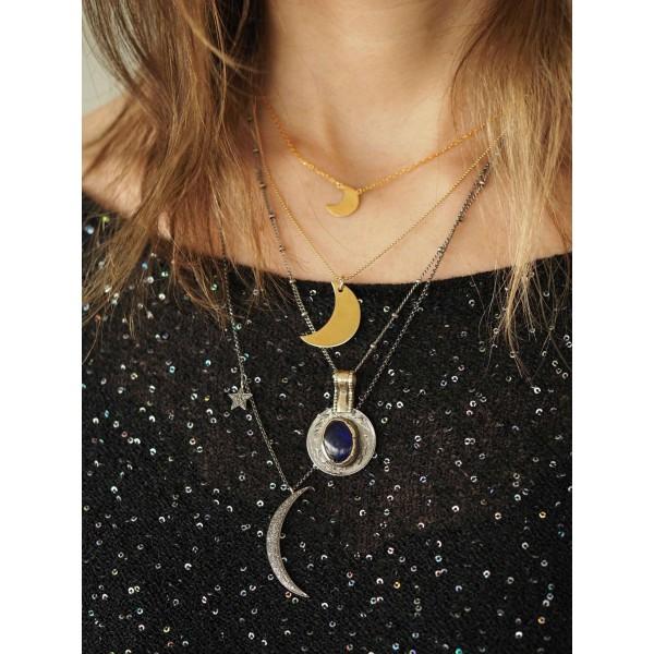 Colgante Luna creciente chapada oro 18K