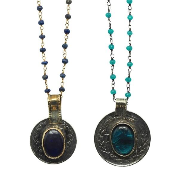 Colgante Amuleto Medalla Vintage cadena piedras