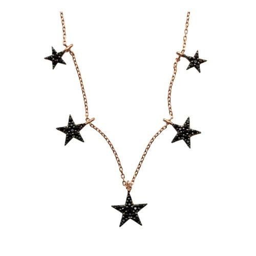 Gargantilla plata chapada oro rosa con estrellas