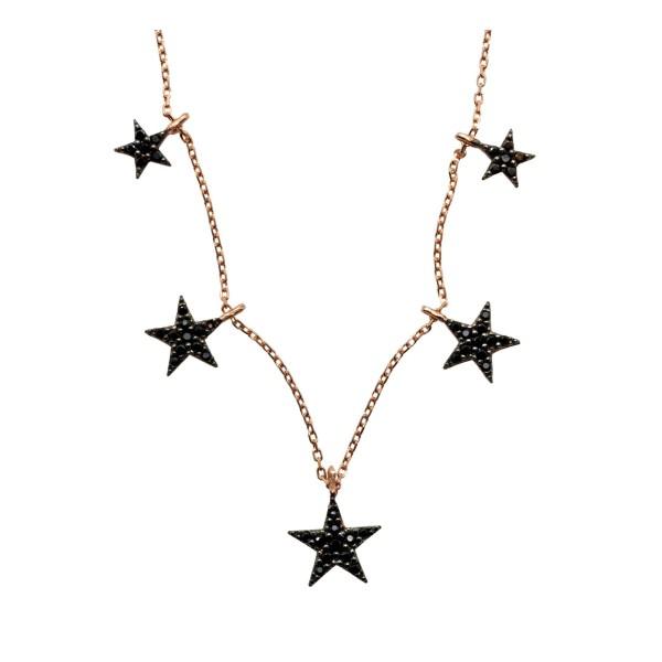 Gargantilla Black Stars plata bañada oro rosa