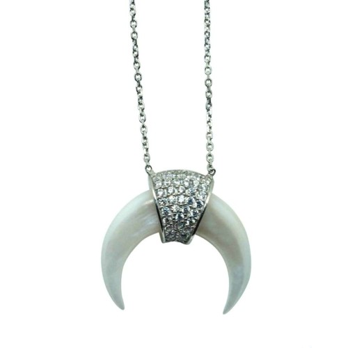 Silver and Zircon White mini Horn necklace