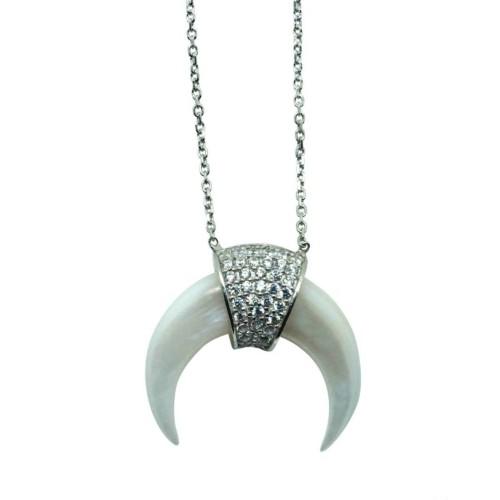 Collar mini cuerno blanco de plata y circonitas