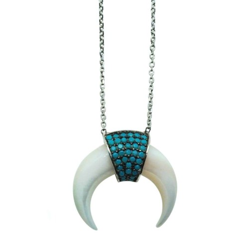 Silver and Blue Zircon White mini Horn necklace
