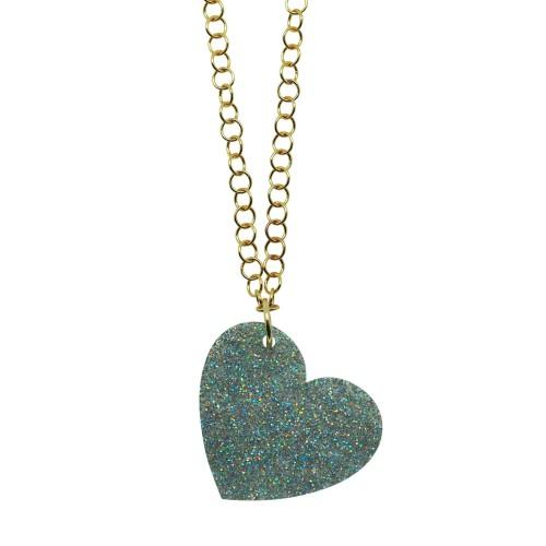Silver Glitter Love pendant