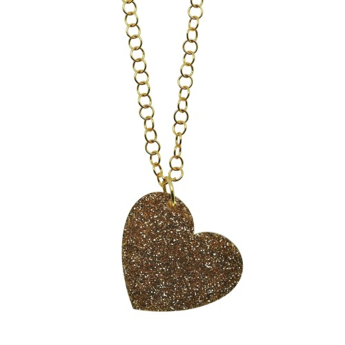 Colgante Glitter Love oro cadena dorada