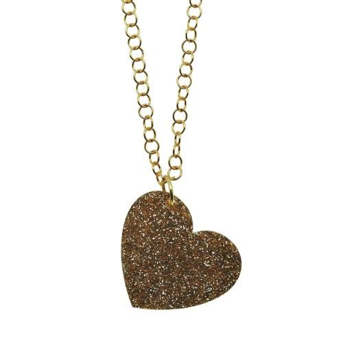 Golden Glitter Love pendant