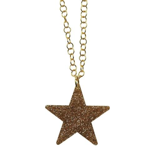 Colgante Glitter Star oro cadena dorada