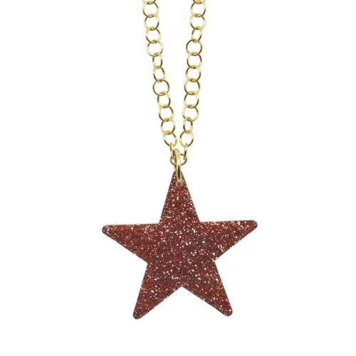 Colgante Glitter Star rosa palo cadena dorada