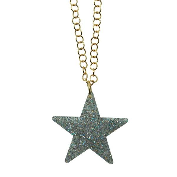 Colgante Glitter Star plata cadena dorada