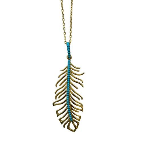 Golden Feather Blue Zircon necklace