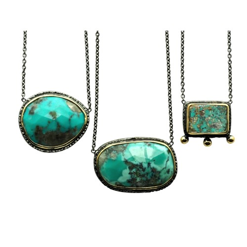 Necklace with faceted Turquoise stone