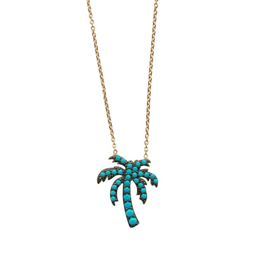 "Collar ""Blue Palm Tree"""