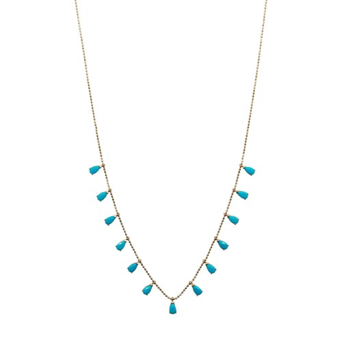 Blue Zircon Stones Silver Goldplated Necklace