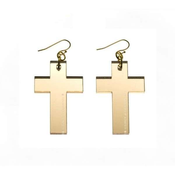 Pendientes Cruz espejo oro