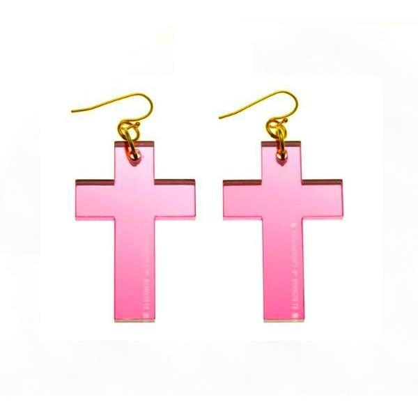 Pendientes Cruz espejo rosa