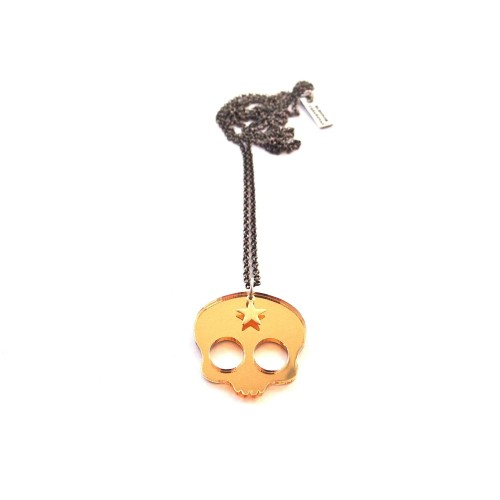"""Cute Skull"" pendant - Golden mirror"