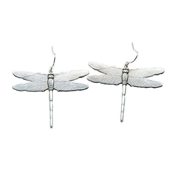 Antiqued silver colour Dragonfly earrings