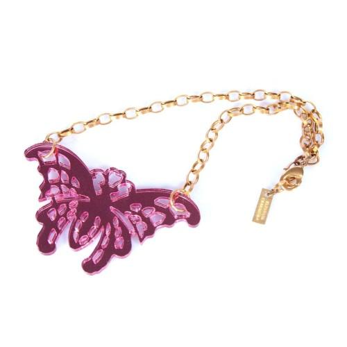 Collar Pink Butterfly de espejo rosa