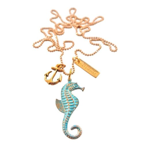 Seahorse pendant with anchor