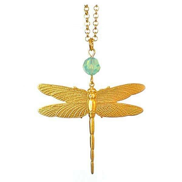 Dragonfly pendant with light blue swarovski