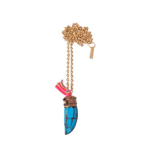 Colgante Colmillo azul con cinta tribal