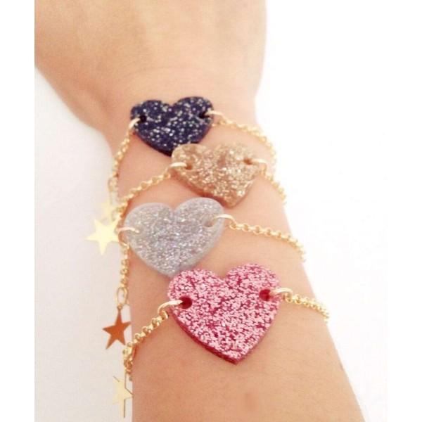 Glitter Love bracelet with Golden chain