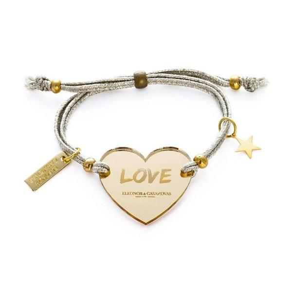 Pulsera Lucky Love espejo oro