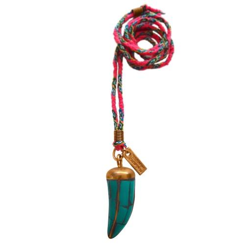 Colgante Boho cuerno con cordón de color