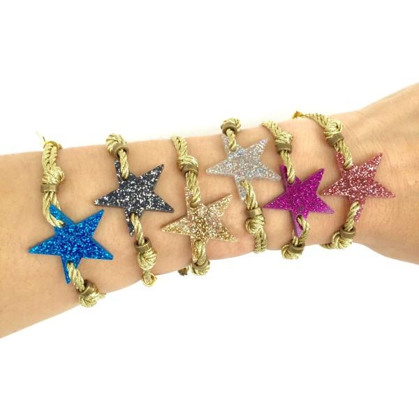 Pulsera mini Glitter Star cordón dorado