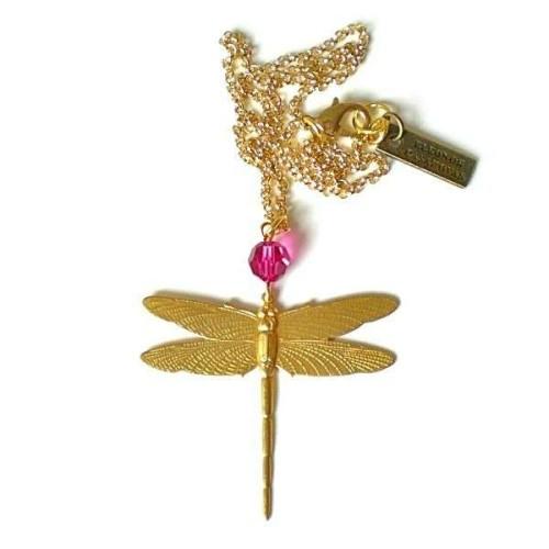 Dragonfly pendant with Fuchsia swarovski
