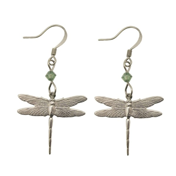 SIlver plated Baby Dragonfly earrings with swarovski