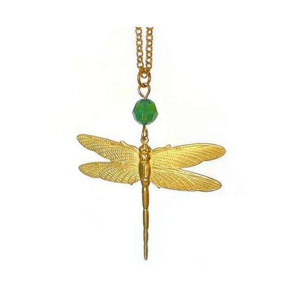 Dragonfly pendant with green swarovski