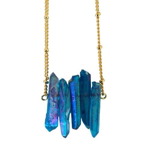 Collar piedras de cuarzo azul tornasolado