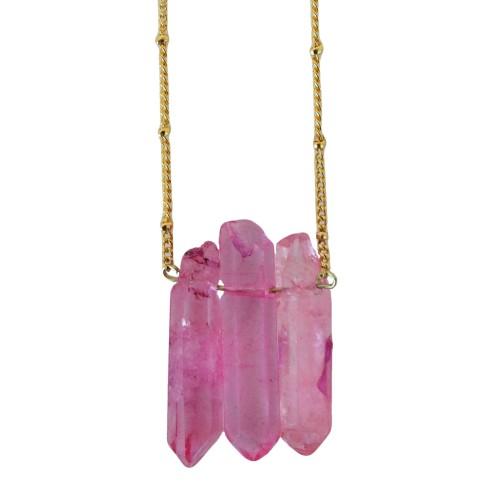 Collar piedras cuarzo rosa