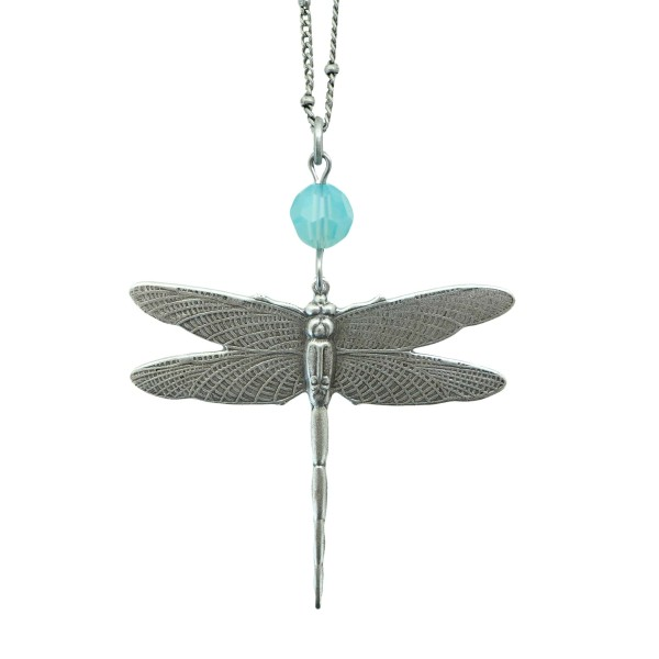 Antiqued Silver Dragonfly with blue swarovski