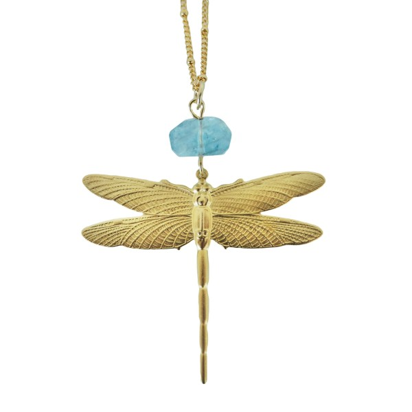 Goldplated Dragonfly with Aquamarine gemstone