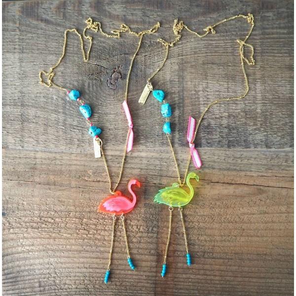 Flamingo Chic pendant with Turquoise stones