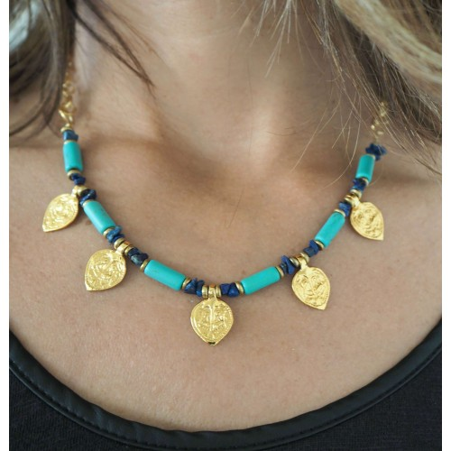 Boho Chic Necklace with Goldplated Charms