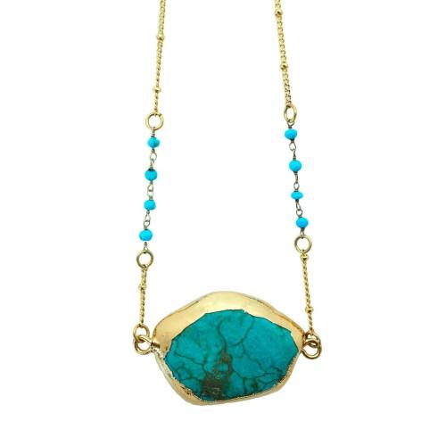 Collar corto piedra Turquesa con cadena turquenitas