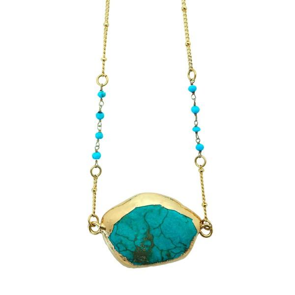 Collar piedra Turquesa con cadena combinada con turquenitas